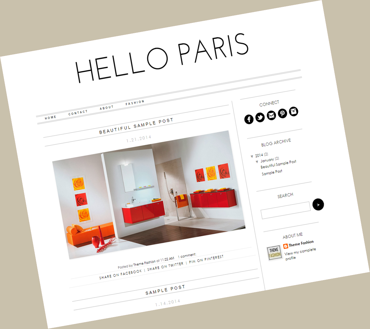 Hello Paris - Blogger - Theme Fashion